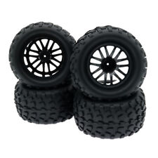 RC 1/10 Monster Truck Big Foot 4pcs Rubber Tire 14 Spoke Wheel Rim Set C8118