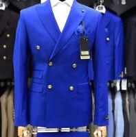 Men's Royal Blue Slim 2 Piece Double Breasted Tuxedo Wedding Suits jacket Blazer