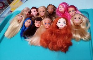 BEAUTIFUL LOT OF 12 BARBIE HEADS FOR OOAK OR PLAY/ ALL IN GOOD CONDITION