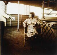 Coppia A Bord Un Bateau Foto Stereo PL58L27n17 Placca Lente Vintage
