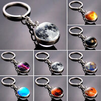 Solar System Planet Galaxy Nebula Pendant Keychain Double Side Glass Ball Gifts