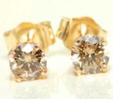 0.42ct Genuine Champagne Diamond 14K 14KT Yellow Solid Gold Earrings Studs