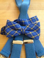 NEW BOYS ROYAL BLUE/YELLOW BANDED BOW TIE/ROYAL BLUE SUSPENDER SET/USA MADE