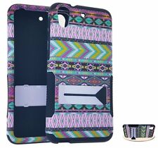For HTC Desire 626 626S - HARD & SOFT RUBBER HYBRID CASE COVER PINK GREEN AZTEC