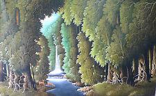 Hand painting Balinese Bali Forest Waterfall Intiricate 82