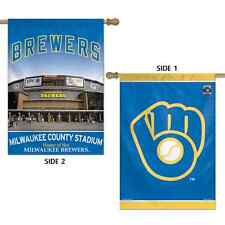 "MILWAUKEE BREWERS MILWAUKEE COUNTY STADIUM 28""X40"" DOUBLE SIDED BANNER FLAG NEW"