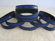 Thin Blue Line Silicone Wristbands Bracelets Police Memorial Support 10 Piece