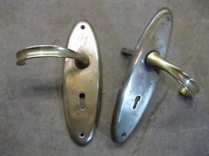 Pair Original Reclaimed Brass Levers Handle and Backplates 0209