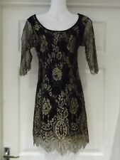 MISO Dress Black & Gold Lace Mini Dress with Stretch & Cut Out Back UK Size 10