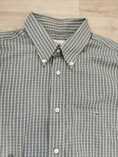 """Lacoste Grey Check Button Down Long Sleeve Shirt Size 41 UK large 50"""" chest"""
