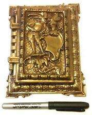 RARE VINTAGE - SOLID BRASS HEAVY POLAROID PHOTO ALBUM WITH KNIGHT RELIEF
