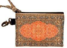 "Tangerine Fabric Print Key Chain Purse Zipper Closure New Derin 4 1/2"" x 3"""