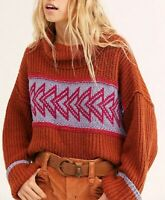 Free People Womens Greater Than Sweater Coarse Knitting Sweater Brown Size XS