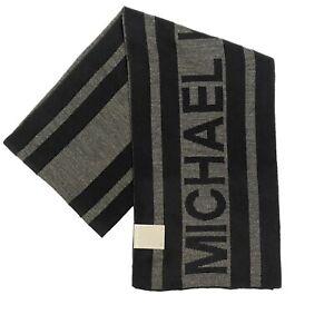 MICHAEL KORS Mens Vertical Spellout Stripe Logo Scarf Black (MSRP $55)