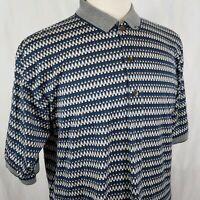 Slazenger Men's Polo Shirt Medium 3 Button S/S Blue Tan Cotton Golf Hong Kong