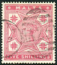 MALTA-1886 5/- Rose.  A fine used example Sg 30