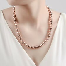 Stunning 18K Rose Gold Filled Women's 10MM Solid Ball Beads Charm Necklace 20""