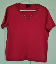 RED COTTON BLEND V-NECK EMBELLISHED KNIT TOP by JASON MAXWELL, SZ XL