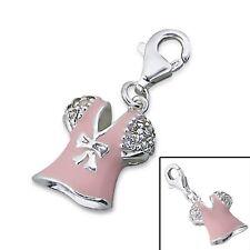 Silvadore DRESS Pink Bow CZ 925 Sterling Silver Clip On Charm Bracelet Box 477