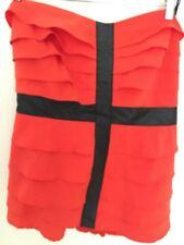 City Chic Strapless Ruffled Front Top XS Orange & Black