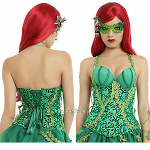 DC Comics Poison Ivy Lace Up Corset  Green Satin 3D Vines Costume Cosplay S & M