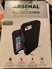 iPhone 5 5S 5C Zagg Arsenal Case InvisibleShield Extreme Screen Protector Black