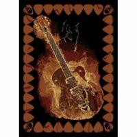 5 x 7 feet Modern Area Rug Flaming Guitar Design Music Room Accent Black/Brown