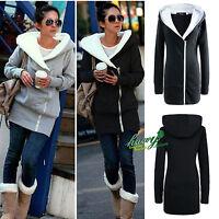 Plus Size Women Long Hoodie Jacket Zip Hooded Sweater Slim Winter Coat Outwear