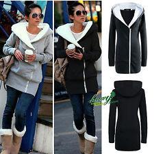 Womens Oversized Hoodies Jacket Long Zipper Coat Overcoat Outwear Plus Size 6-20