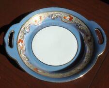 Noritake Bowl Dish Lusterware Blue with Orange & Gold Moriage
