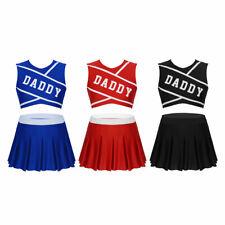 2Pcs Women's Cheerleading Costume School Girl Outfits Fancy Dress Skirt Uniform
