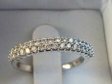 NEW 1/2ct Diamond Anniversary Double Row Pave Ring Band 14K White Gold Sz 7