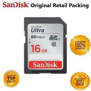 Genuine New SanDisk Ultra SD SDHC SDXC 16GB Memory Card 80MB/s UHS-1 U1 Class 10