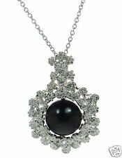 Solid 925 Sterling Silver Black Onyx Cabochon Floral Pendant Necklace '