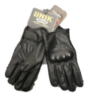 Mens Black Leather Motorcycle Full Finger Gloves 8192