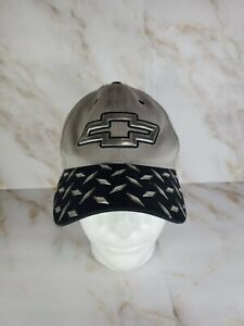 Chevy Chevrolet GM Official Gray Black Diamond Plate Adjustable Embroidered Hat