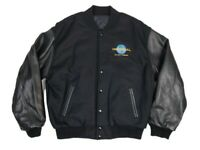 Vintage Universal An MCA Co Mens M Wool Leather Arm Embroidered Varsity Jacket