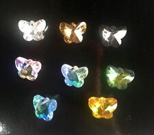 24Pcs/lot 14mm Crystal Glass Charm Pendants butterfly Christmas Created Colorful