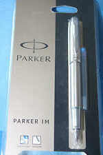 Brand New Parker I.M Brushed Metal Medium Fountain Pen with Ink Refill