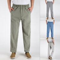 Mens Cotton Linen Loose Pants Drawstring Sports Yoga Casual Long Slacks Trousers