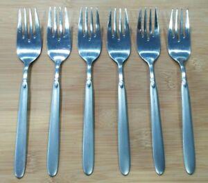 Set of 6 WMF Cromargan China, Spring Pattern, Satin 18/8 Stainless Salad Forks