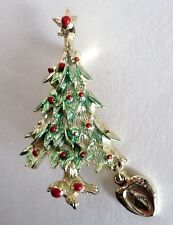 "Christmas Tree 1 3/4"" Brooch Pin Gold Tone & Green with Charm"