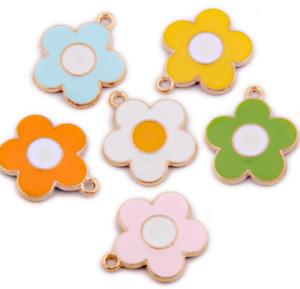 100pcs Colorful Five Petal Flower Bead Pendant Earrings Necklace Accessories