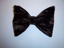 NEW BROWN  CRUSHED VELVET BOW TIE - men's clip on style - VINTAGE 70's