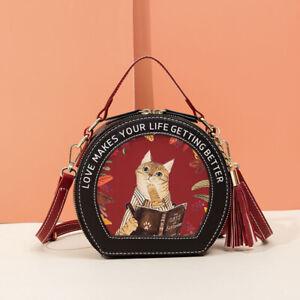 Women Retro Cat PU Leather Shoulder Shell Crossbody Handbags Satchel Round Bags