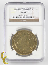 1814NR JF Colombia 8 Escudos Gold Coin Graded NGC AU50 KM# 66.1