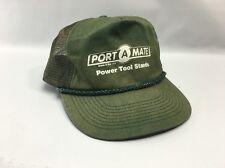 "SnapBack Trucker Hat - ""Port A Mate Power Tool Stands"" - Green - Mesh ~ Retro"