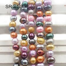"Jewelry Making Nearly Round Multicolor Freshwater Pearl Beads Strand 15""6-7mm"