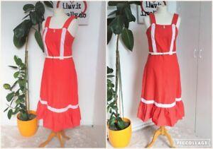 Vintage 70s Red & White Ditsy Polka dot Prairie Gypsy  Hippy Sun Dress Size 8