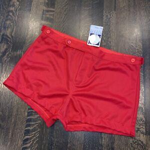NOS Vtg 70s 80s Gym Coach Shorts High Waist RED Polyester Covo Softball Mens 40
